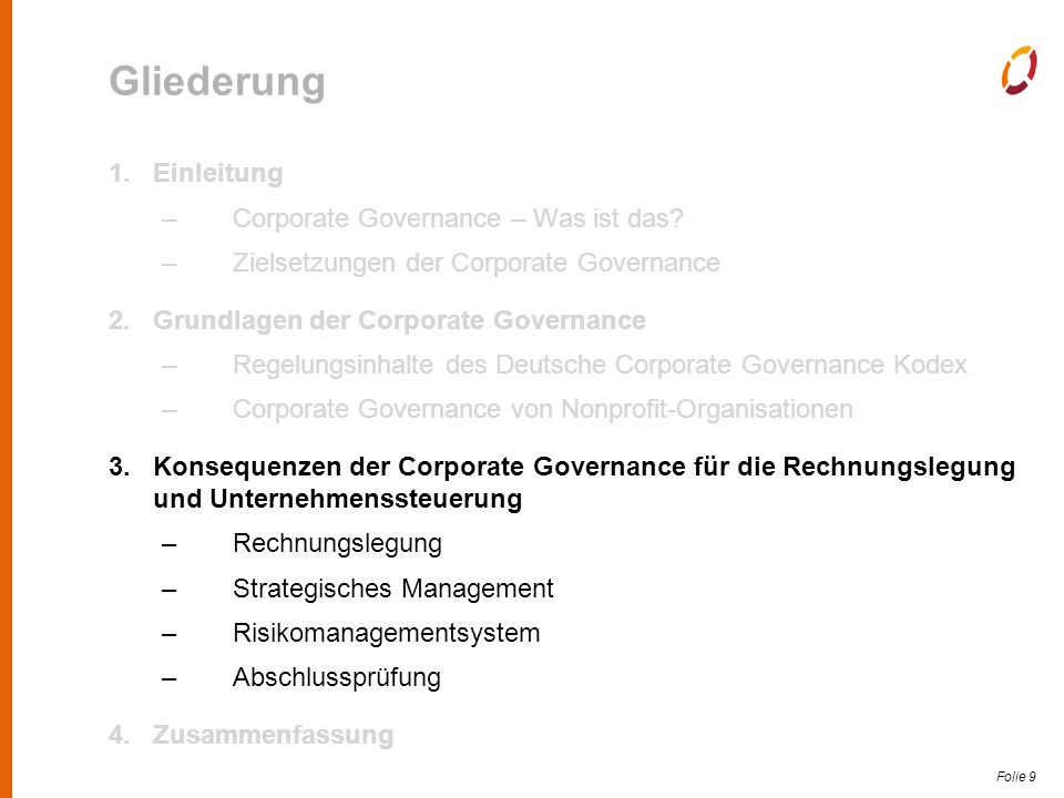Folie 9 Gliederung 1.Einleitung –Corporate Governance – Was ist das.