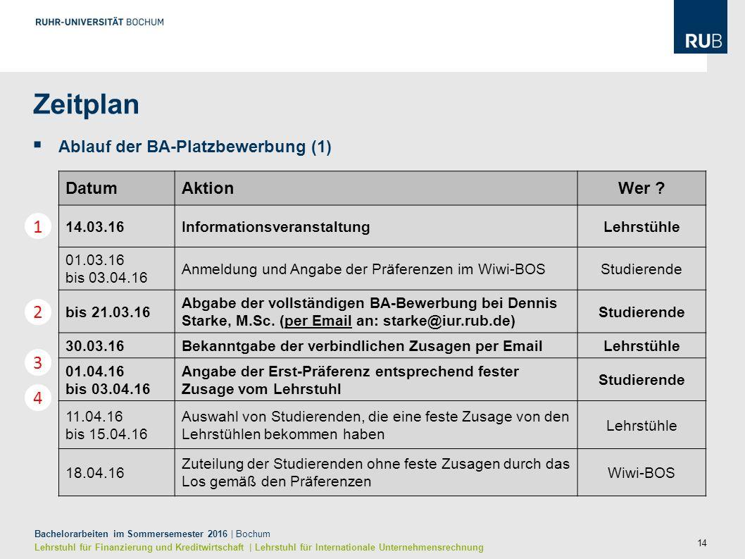 14 Bachelorarbeiten im Sommersemester 2016 | Bochum Lehrstuhl für Finanzierung und Kreditwirtschaft | Lehrstuhl für Internationale Unternehmensrechnung Zeitplan  Ablauf der BA-Platzbewerbung (1) DatumAktionWer .