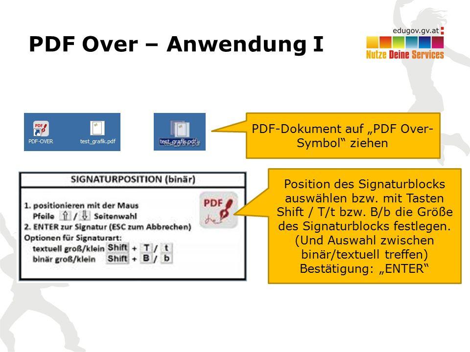 """PDF Over – Anwendung I PDF-Dokument auf """"PDF Over- Symbol"""" ziehen Position des Signaturblocks auswählen bzw. mit Tasten Shift / T/t bzw. B/b die Größe"""