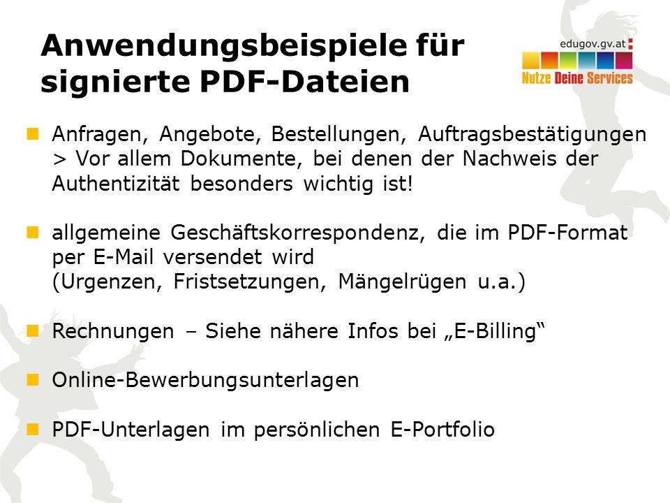 """PDF-Signatur Anbieter / Signaturarten Webbasierte Services www.buergerkarte.at Textuell: Wenn Inhalt ausschließlich Text Binär: Wenn auch Grafiken und Bilder dabei www.sendstation.at Einfache Oberfläche; Binäre Signatur www.Handy-Signatur.at Keine Bildmarke im PDF-Dokument Praktisch geeignet für Mehrfachsignaturen (""""Kollektivzeichnung ) www.buergerkarte.at www.sendstation.at www.Handy-Signatur.at"""