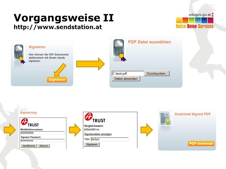 Vorgangsweise II http://www.sendstation.at