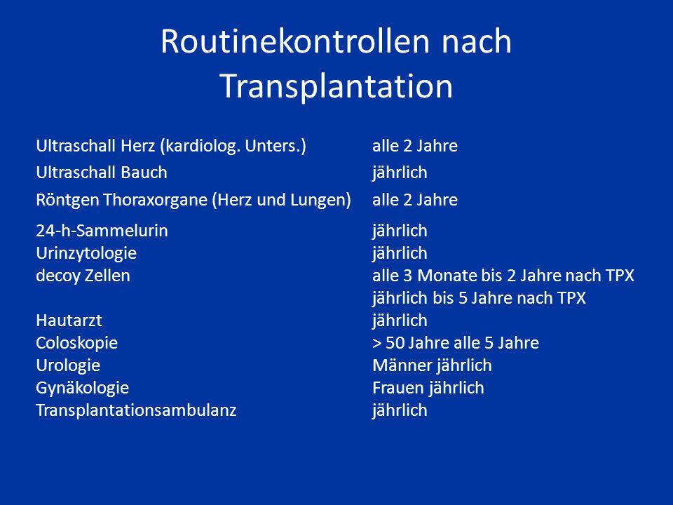 Routinekontrollen nach Transplantation Körperliche Untersuchungbei Arzttermin (alle 6 Wochen) Laborprofil Nierenwerte, Mineralstoffe, Urinstatus, Medi