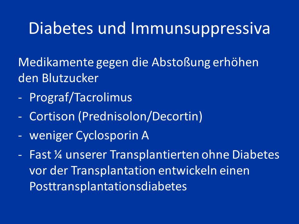 Blutdruck und Immunsuppressiva Medikamente gegen Abstoßung erhöhen den Blutdruck - vor allem Calcineurininhibitoren (Cyclosporin A und Tacrolimus (Prograf)) -sowie Cortison (Prednisolon/Decortin)
