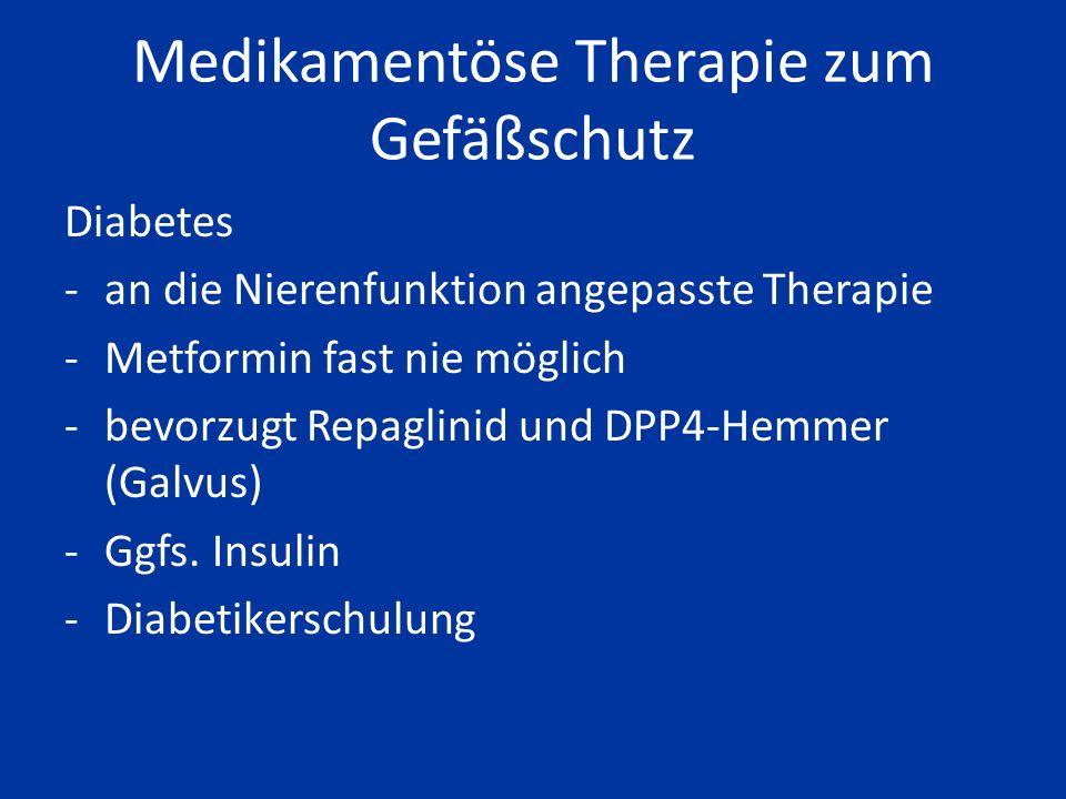 Medikamentöse Therapie zum Gefäßschutz Blutfette -Bei LDLc-Cholesterin über 100 mg/dl bevorzugt Fluvastatin oder Pravastatin (vertragen sich mit der ü