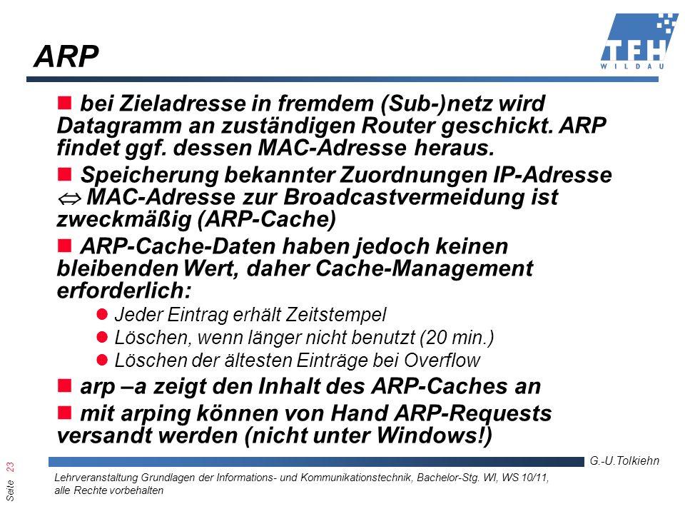 Seite 23 G.-U.Tolkiehn Lehrveranstaltung Grundlagen der Informations- und Kommunikationstechnik, Bachelor-Stg. WI, WS 10/11, alle Rechte vorbehalten A