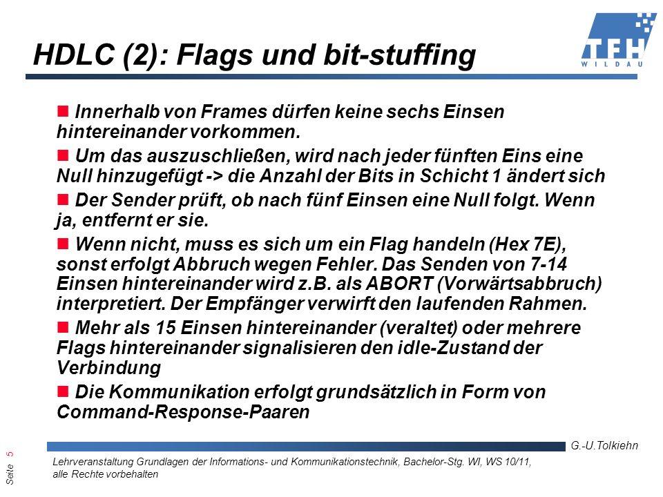 Seite 5 G.-U.Tolkiehn Lehrveranstaltung Grundlagen der Informations- und Kommunikationstechnik, Bachelor-Stg. WI, WS 10/11, alle Rechte vorbehalten HD