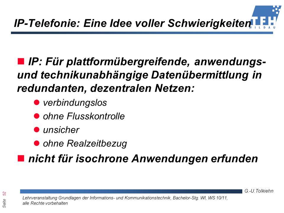 Seite 52 G.-U.Tolkiehn Lehrveranstaltung Grundlagen der Informations- und Kommunikationstechnik, Bachelor-Stg. WI, WS 10/11, alle Rechte vorbehalten I