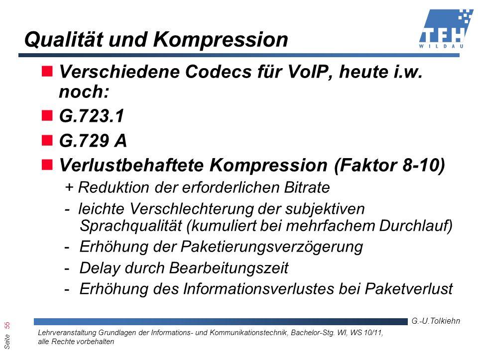 Seite 55 G.-U.Tolkiehn Lehrveranstaltung Grundlagen der Informations- und Kommunikationstechnik, Bachelor-Stg. WI, WS 10/11, alle Rechte vorbehalten Q