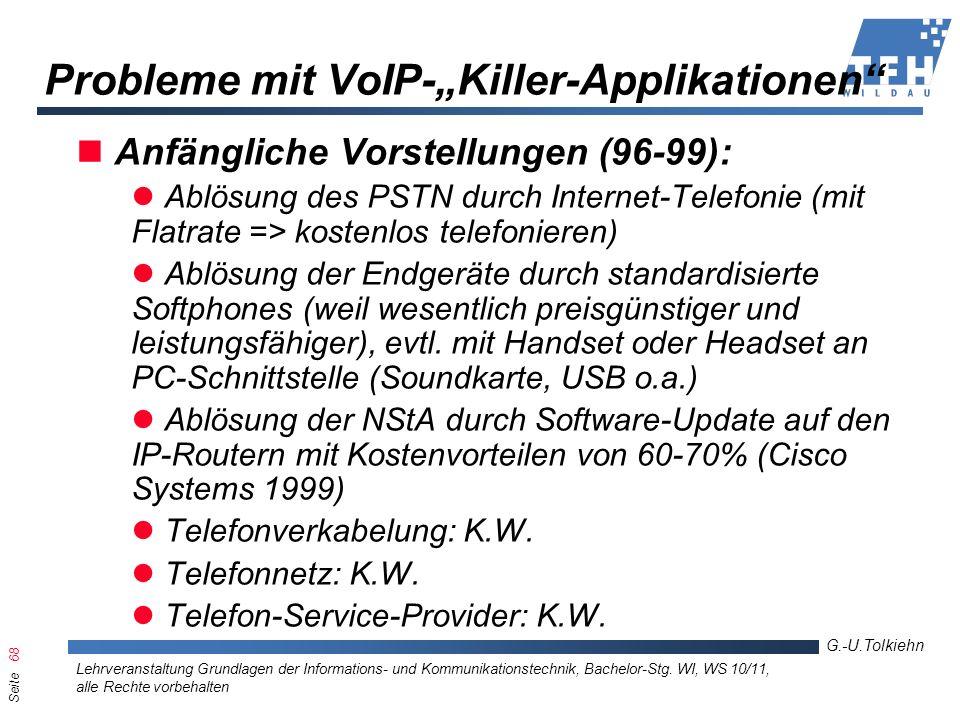 Seite 68 G.-U.Tolkiehn Lehrveranstaltung Grundlagen der Informations- und Kommunikationstechnik, Bachelor-Stg. WI, WS 10/11, alle Rechte vorbehalten P