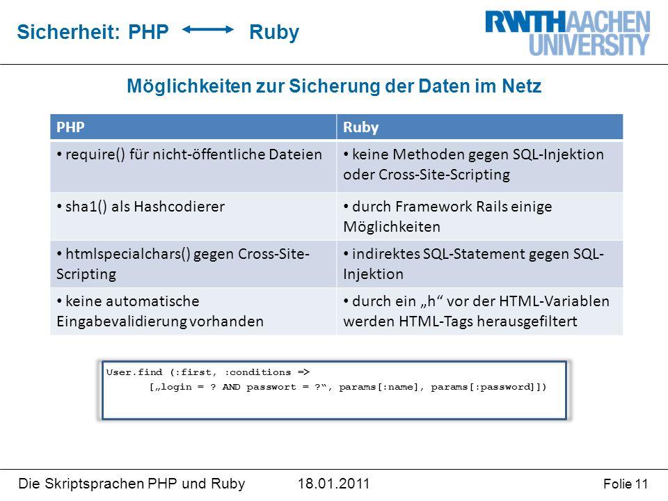 """18.01.2011Die Skriptsprachen PHP und Ruby Folie 11 Möglichkeiten zur Sicherung der Daten im Netz Sicherheit: PHP Ruby PHPRuby require() für nicht-öffentliche Dateien keine Methoden gegen SQL-Injektion oder Cross-Site-Scripting sha1() als Hashcodierer durch Framework Rails einige Möglichkeiten htmlspecialchars() gegen Cross-Site- Scripting indirektes SQL-Statement gegen SQL- Injektion keine automatische Eingabevalidierung vorhanden durch ein """"h vor der HTML-Variablen werden HTML-Tags herausgefiltert User.find (:first, :conditions => [""""login = ."""