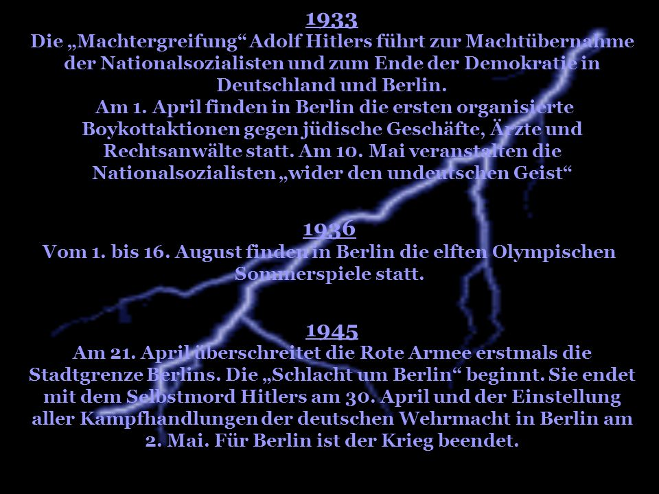 """1933 Die """"Machtergreifung Adolf Hitlers führt zur Machtübernahme der Nationalsozialisten und zum Ende der Demokratie in Deutschland und Berlin."""