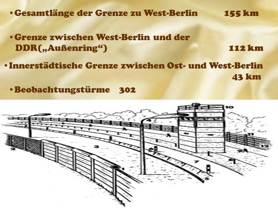 """Grenze zwischen West-Berlin und der DDR(""""Außenring ) 112 km Gesamtlänge der Grenze zu West-Berlin 155 km Beobachtungstürme 302 Innerstädtische Grenze zwischen Ost- und West-Berlin 43 km"""