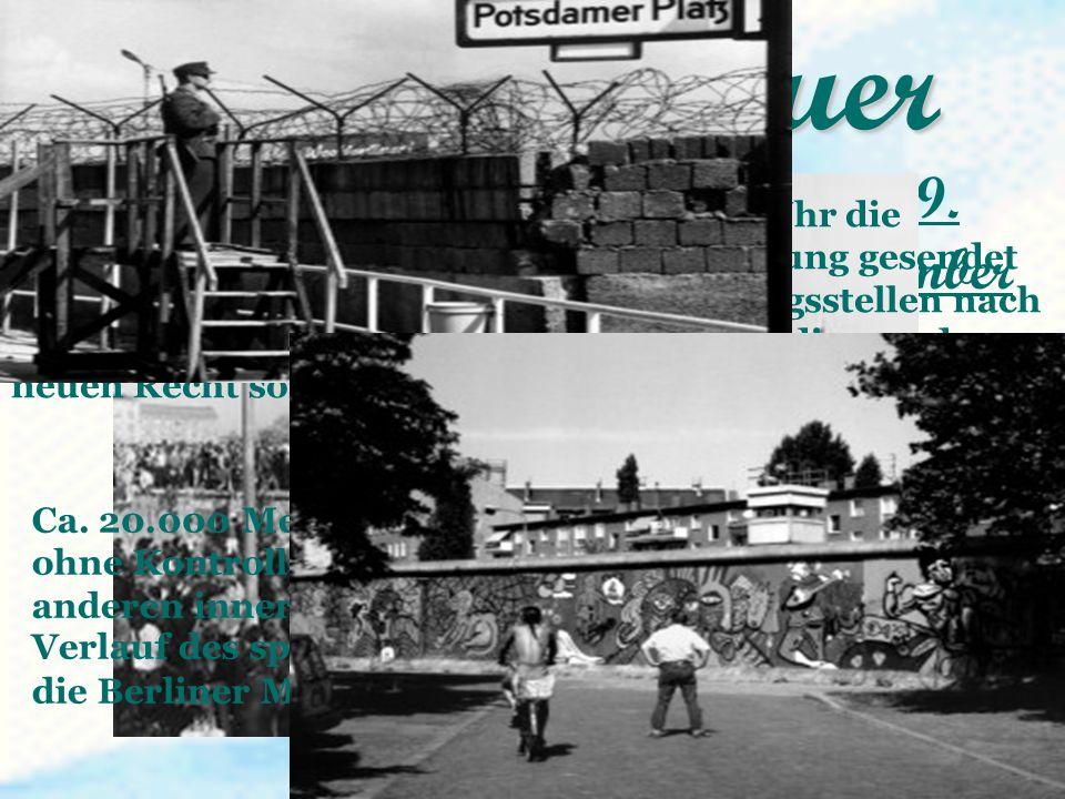 Fall der Mauer in der Nacht von Donnerstag, dem 9. November, auf Freitag, den 10. November 1989 Nachdem die ARD-Tagesschau um 20.00 Uhr die Schabowski