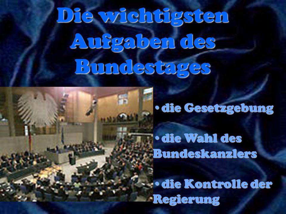 Die wichtigsten Aufgaben des Bundestages die Gesetzgebungdie Gesetzgebung die Wahl des Bundeskanzlersdie Wahl des Bundeskanzlers die Kontrolle der Reg