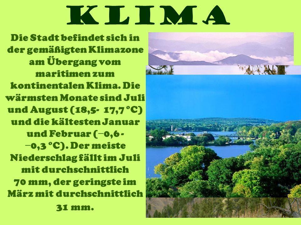 Klima Die Stadt befindet sich in der gemäßigten Klimazone am Übergang vom maritimen zum kontinentalen Klima. Die wärmsten Monate sind Juli und August