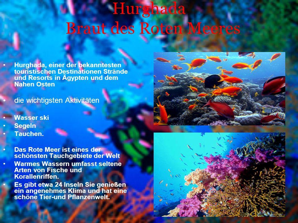 Hurghada Braut des Roten Meeres Hurghada, einer der bekanntesten touristischen Destinationen Strände und Resorts in Ägypten und dem Nahen Osten die wichtigsten Aktivitäten Wasser ski Segeln Tauchen.