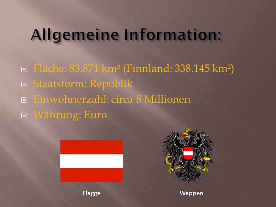  Fläche: 83.871 km² (Finnland: 338.145 km²)  Staatsform: Republik  Einwohnerzahl: circa 8 Millionen  Währung: Euro FlaggeWappen