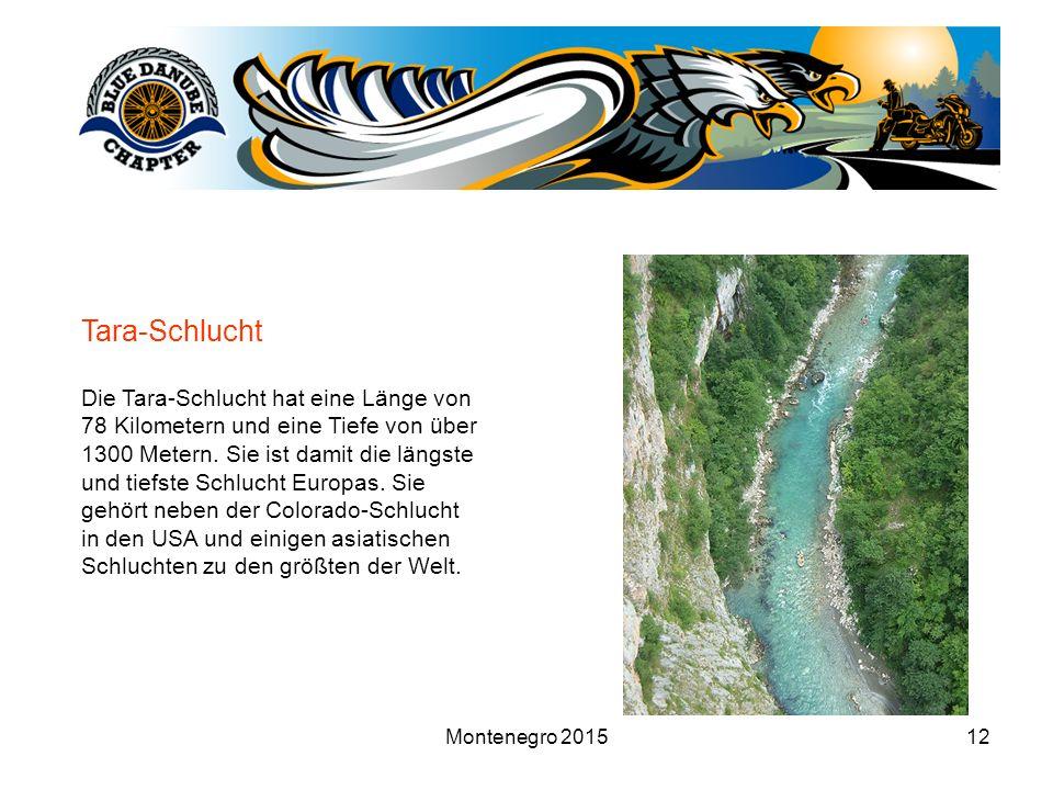 Montenegro 201512 Tara-Schlucht Die Tara-Schlucht hat eine Länge von 78 Kilometern und eine Tiefe von über 1300 Metern.