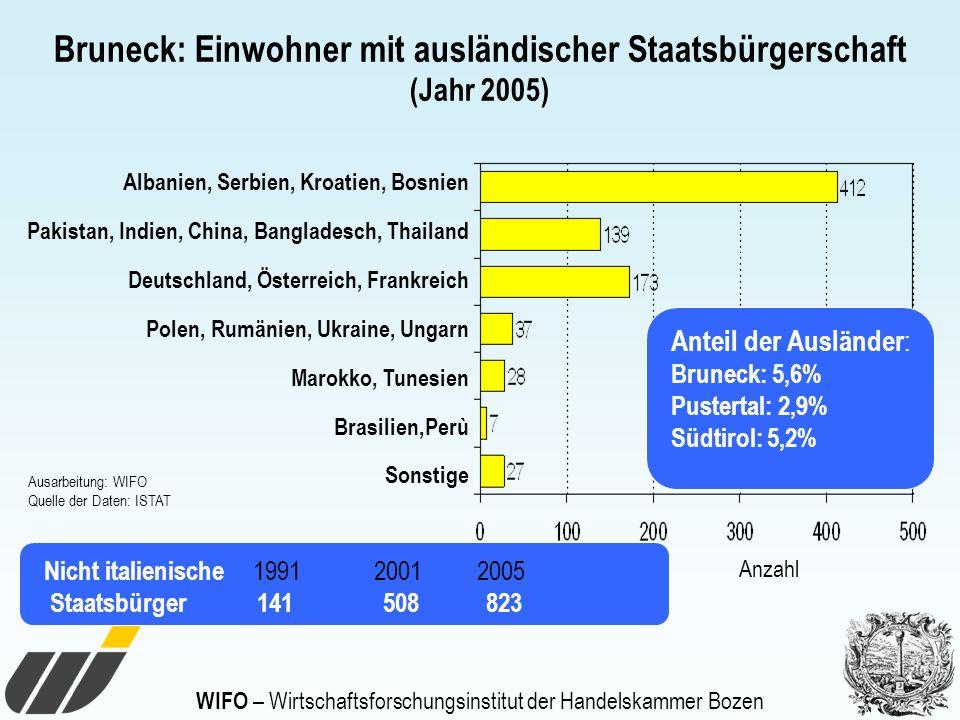 WIFO – Wirtschaftsforschungsinstitut der Handelskammer Bozen Bruneck: Einwohner mit ausländischer Staatsbürgerschaft (Jahr 2005) Albanien, Serbien, Kr