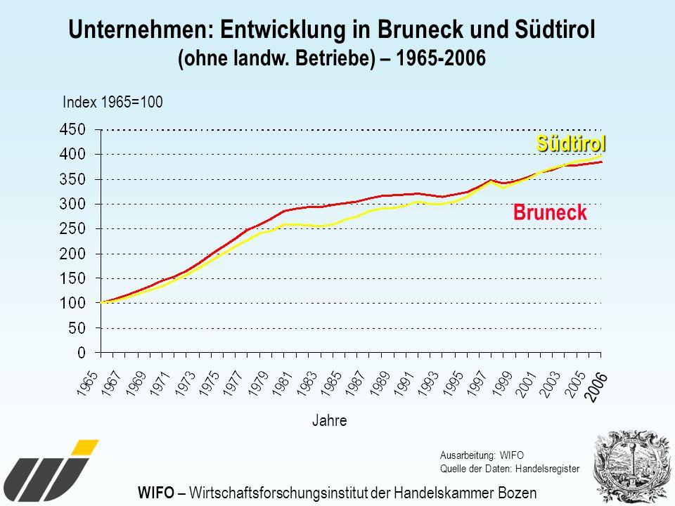 WIFO – Wirtschaftsforschungsinstitut der Handelskammer Bozen Jahre Unternehmen: Entwicklung in Bruneck und Südtirol (ohne landw. Betriebe) – 1965-2006