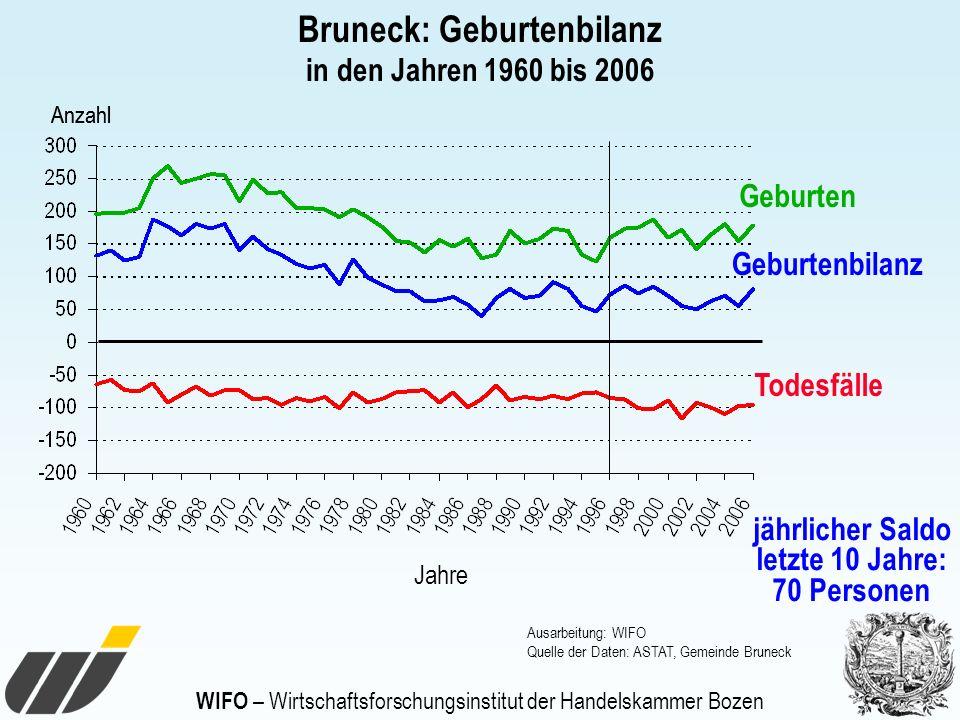 WIFO – Wirtschaftsforschungsinstitut der Handelskammer Bozen Bruneck: Geburtenbilanz in den Jahren 1960 bis 2006 Geburten Todesfälle Geburtenbilanz Ja