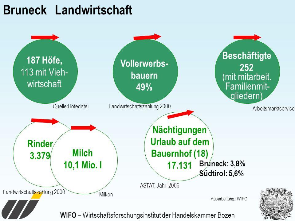 Bruneck Landwirtschaft 187 Höfe, 113 mit Vieh- wirtschaft Vollerwerbs- bauern 49% Beschäftigte 252 (mit mitarbeit. Familienmit- gliedern) Nächtigungen