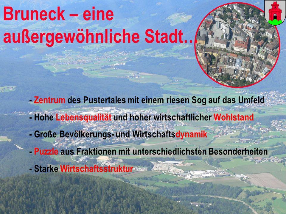 WIFO – Wirtschaftsforschungsinstitut der Handelskammer Bozen Bruneck – eine außergewöhnliche Stadt… - Zentrum des Pustertales mit einem riesen Sog auf