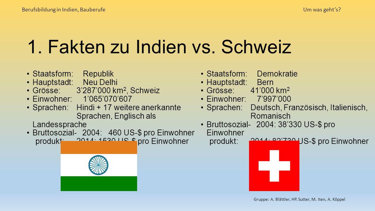 1. Fakten zu Indien vs. Schweiz Berufsbildung in Indien, BauberufeUm was geht's.