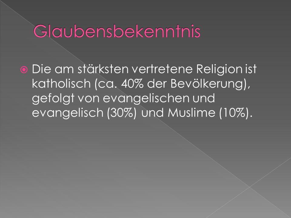  Die am stärksten vertretene Religion ist katholisch (ca.