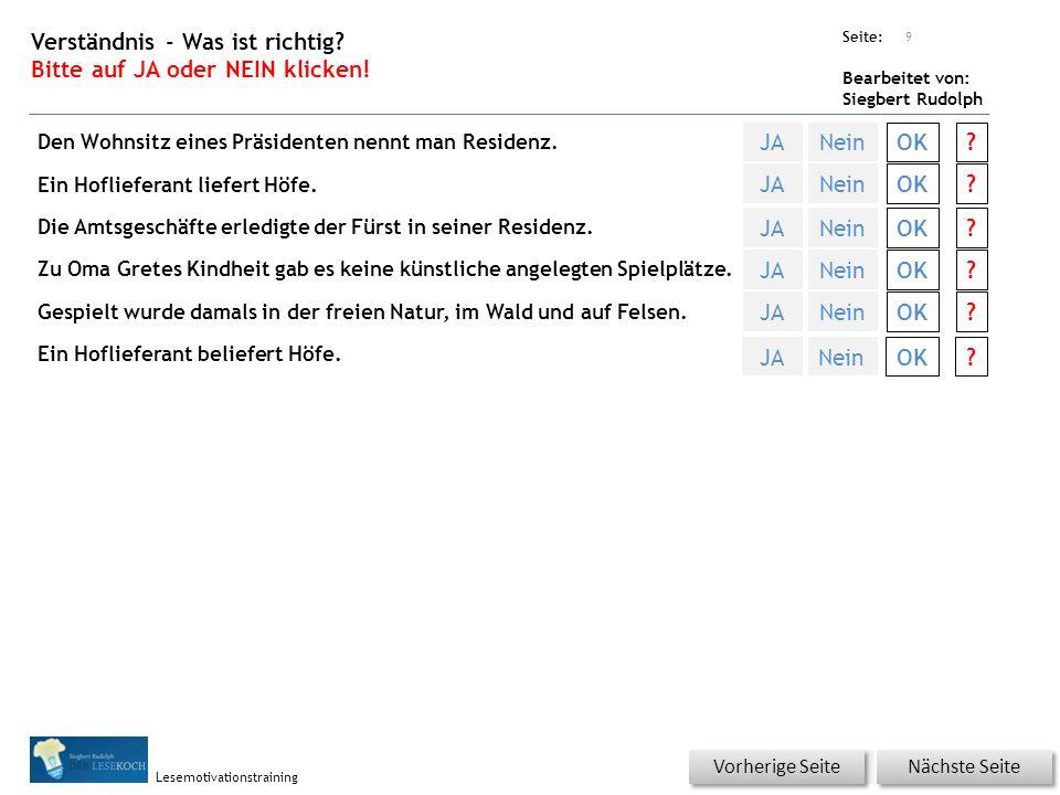 Übungsart: Seite: Bearbeitet von: Siegbert Rudolph Lesemotivationstraining Was ist richtig? Bitte auf das richtige Lösungswort klicken! Welche Bedeutu
