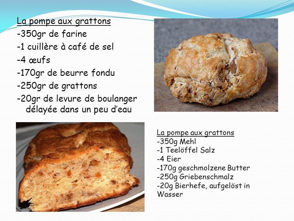 La pompe aux grattons -350gr de farine -1 cuillère à café de sel -4 œufs -170gr de beurre fondu -250gr de grattons -20gr de levure de boulanger délayé