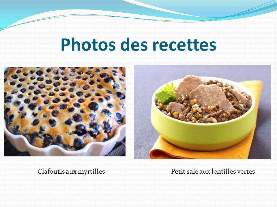 Photos des recettes Petit salé aux lentilles vertesClafoutis aux myrtilles