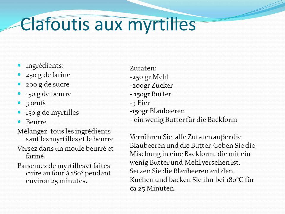 Clafoutis aux myrtilles Ingrédients: 250 g de farine 200 g de sucre 150 g de beurre 3 œufs 150 g de myrtilles Beurre Mélangez tous les ingrédients sau