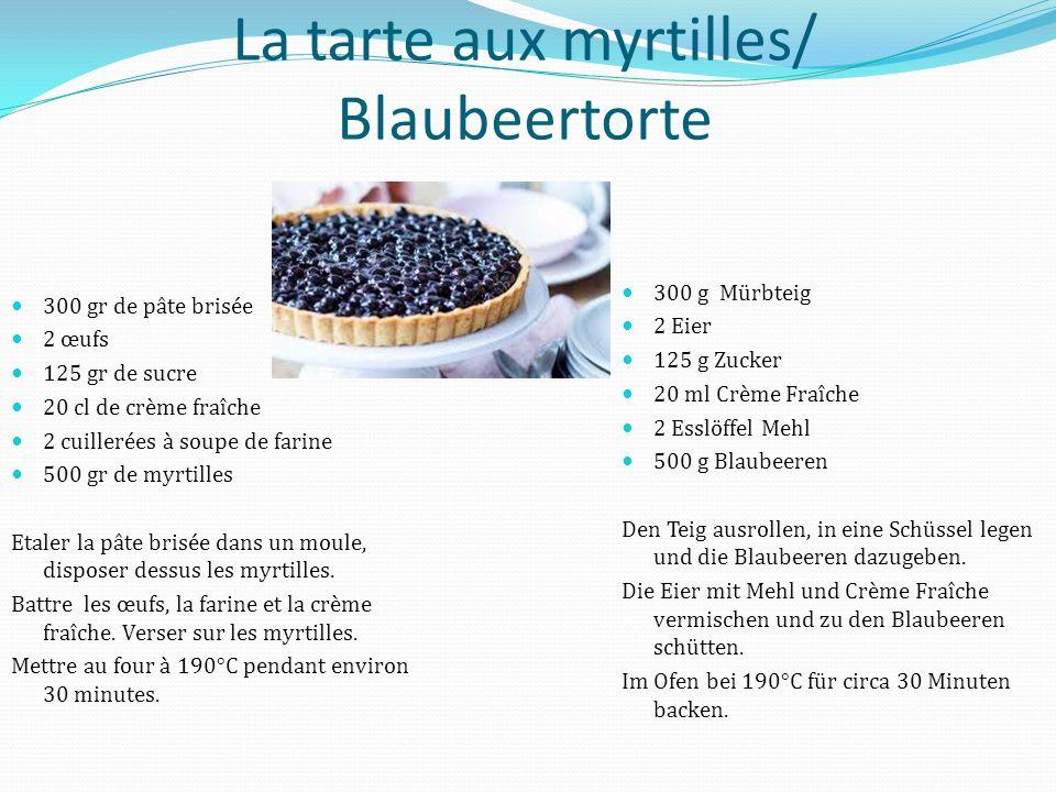 La tarte aux myrtilles/ Blaubeertorte 300 gr de pâte brisée 2 œufs 125 gr de sucre 20 cl de crème fraîche 2 cuillerées à soupe de farine 500 gr de myrtilles Etaler la pâte brisée dans un moule, disposer dessus les myrtilles.