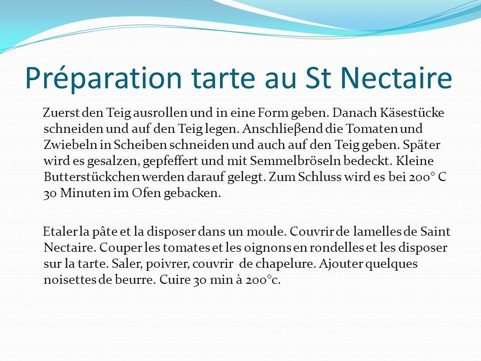 Préparation tarte au St Nectaire Zuerst den Teig ausrollen und in eine Form geben.