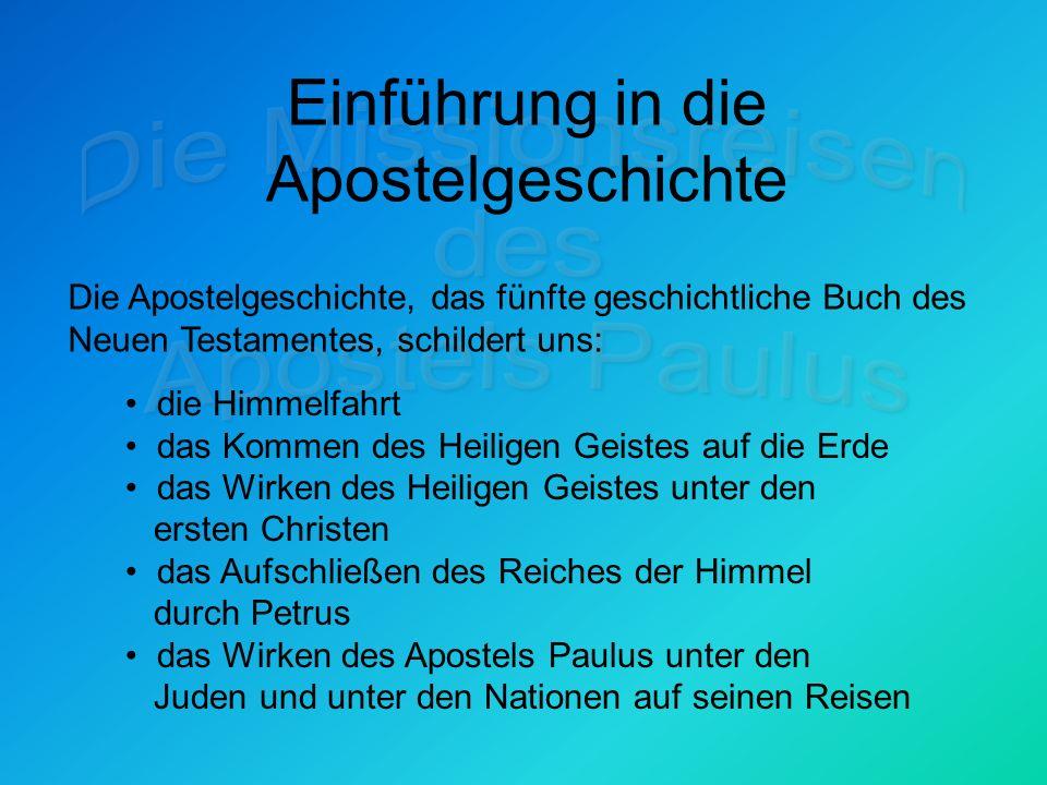 Einführung in die Apostelgeschichte Überblick über die Kapitel 1-12 Himmelfahrt Jesu Christi (1,1-11) Gebet der Jünger und die Wahl des neuen Apostels (1,12-26) Kommen des Heiligen Geistes zu Pfingsten (2,1-4) und die Entstehung der Versammlung Gottes Reden in Sprachen in der Kraft des Geistes (2,5-13) Erste christliche Rede des Petrus und ihre Auswirkungen (2,14-41)