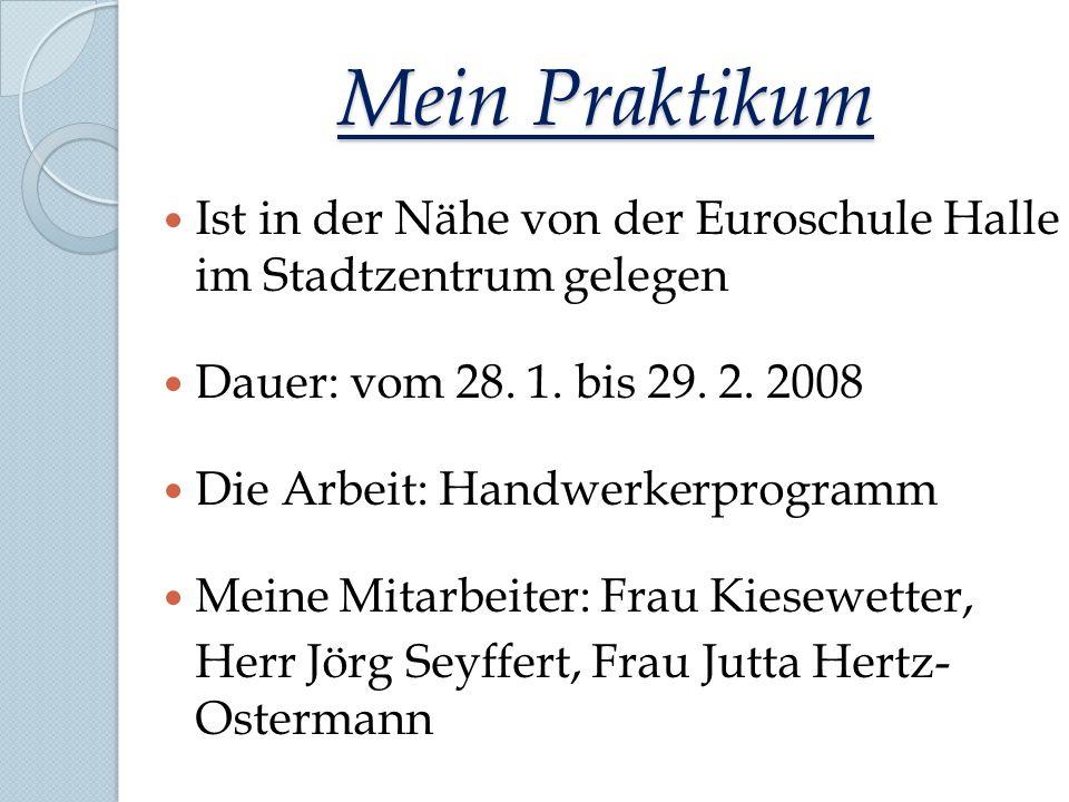 Mein Praktikum Ist in der Nähe von der Euroschule Halle im Stadtzentrum gelegen Dauer: vom 28. 1. bis 29. 2. 2008 Die Arbeit: Handwerkerprogramm Meine