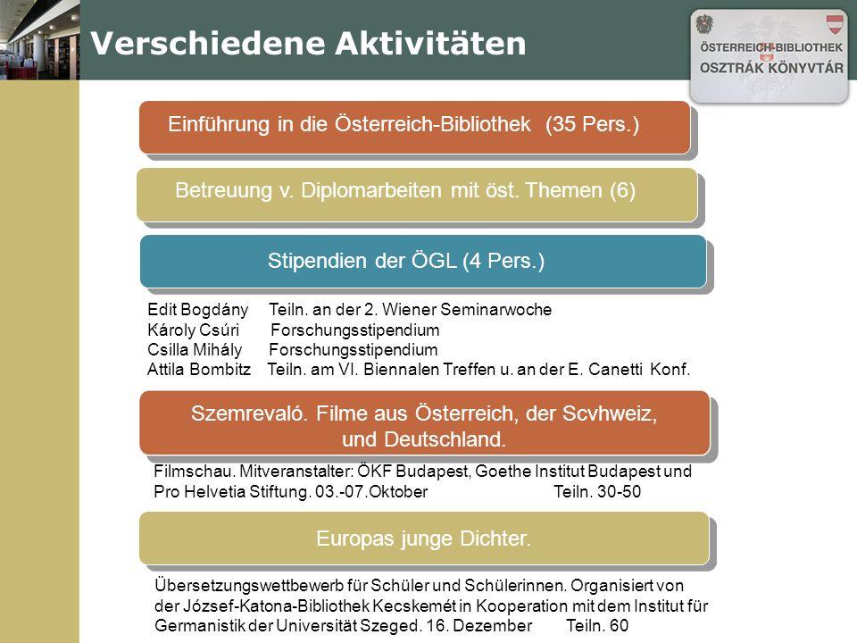 Verschiedene Aktivitäten Einführung in die Österreich-Bibliothek (35 Pers.) Betreuung v.