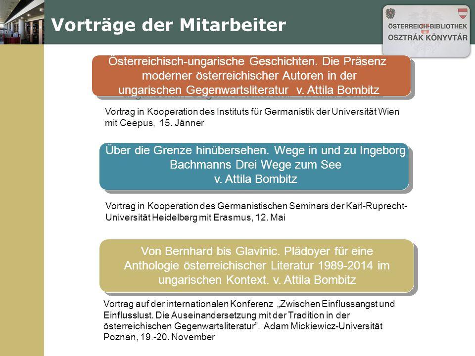 """Vorträge der Mitarbeiter Christoph Ransmayrs """"polnische Geschichten v."""