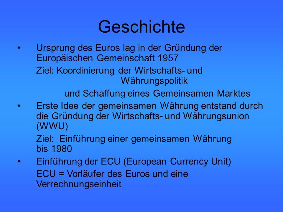 Geschichte Ursprung des Euros lag in der Gründung der Europäischen Gemeinschaft 1957 Ziel: Koordinierung der Wirtschafts- und Währungspolitik und Schaffung eines Gemeinsamen Marktes Erste Idee der gemeinsamen Währung entstand durch die Gründung der Wirtschafts- und Währungsunion (WWU) Ziel: Einführung einer gemeinsamen Währung bis 1980 Einführung der ECU (European Currency Unit) ECU = Vorläufer des Euros und eine Verrechnungseinheit