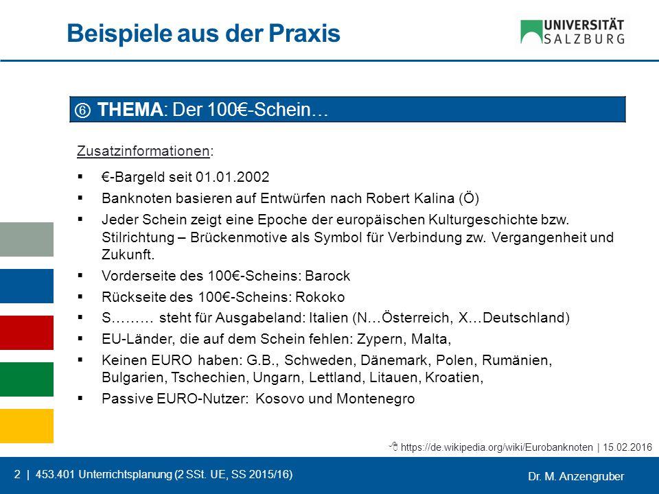 Dr. M. Anzengruber 2 | 453.401 Unterrichtsplanung (2 SSt. UE, SS 2015/16) Beispiele aus der Praxis ⑥ THEMA: Der 100€-Schein… Zusatzinformationen:  €-