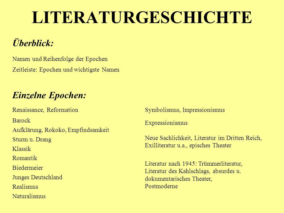 LITERATURGESCHICHTE Aufklärung, Rokoko, Empfindsamkeit Barock Klassik Romantik Sturm u. Drang Renaissance, Reformation Biedermeier Junges Deutschland