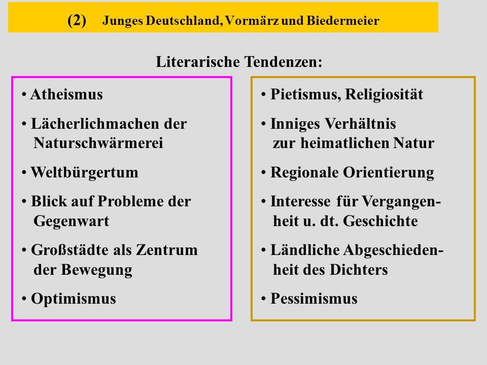 (2) Junges Deutschland, Vormärz und Biedermeier Pietismus, Religiosität Inniges Verhältnis zur heimatlichen Natur Regionale Orientierung Interesse für
