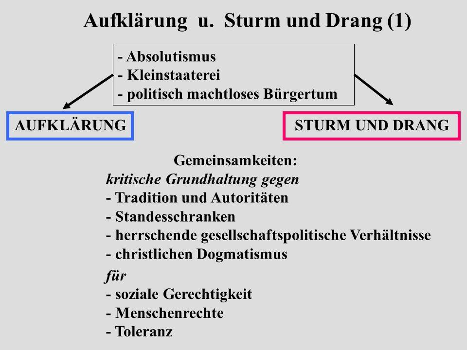 Aufklärung u. Sturm und Drang (1) - Absolutismus - Kleinstaaterei - politisch machtloses Bürgertum AUFKLÄRUNGSTURM UND DRANG Gemeinsamkeiten: kritisch