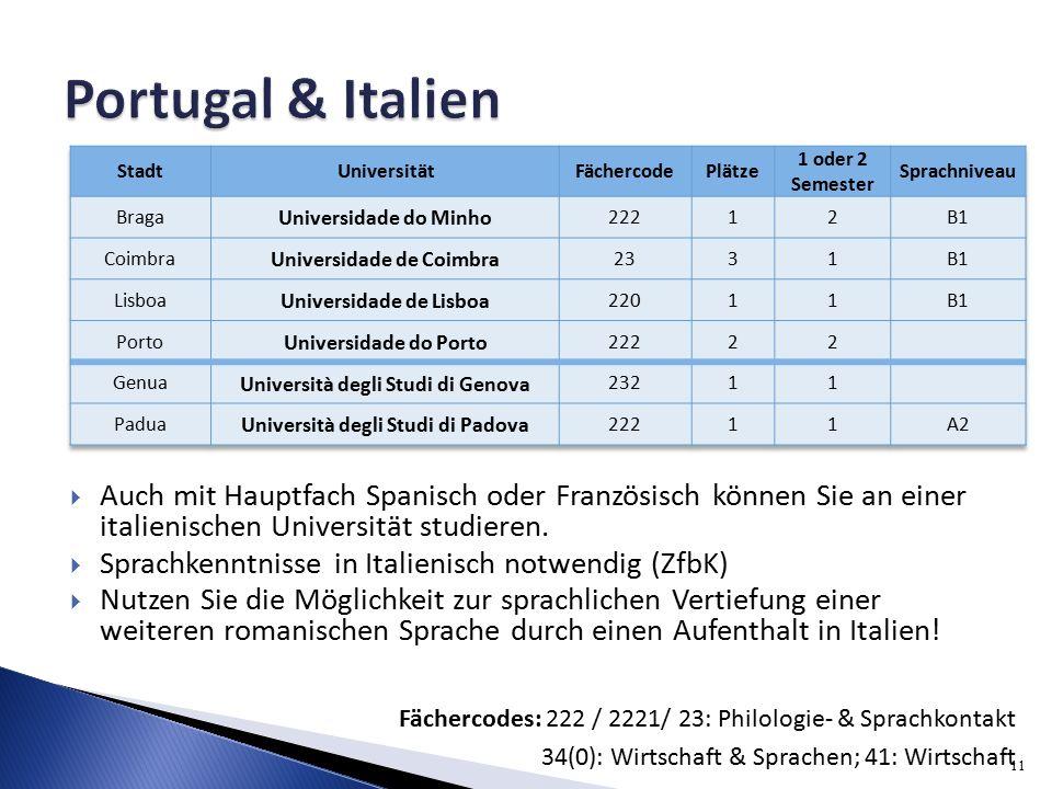 11 Fächercodes: 222 / 2221/ 23: Philologie- & Sprachkontakt 34(0): Wirtschaft & Sprachen; 41: Wirtschaft  Auch mit Hauptfach Spanisch oder Französisch können Sie an einer italienischen Universität studieren.