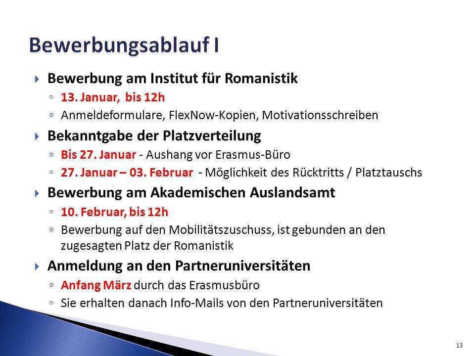  Bewerbung am Institut für Romanistik ◦ 13.