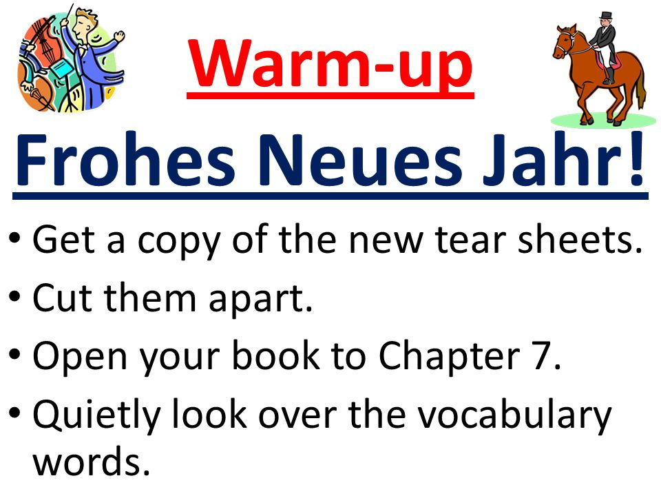 Warm-up Frohes Neues Jahr. Get a copy of the new tear sheets.