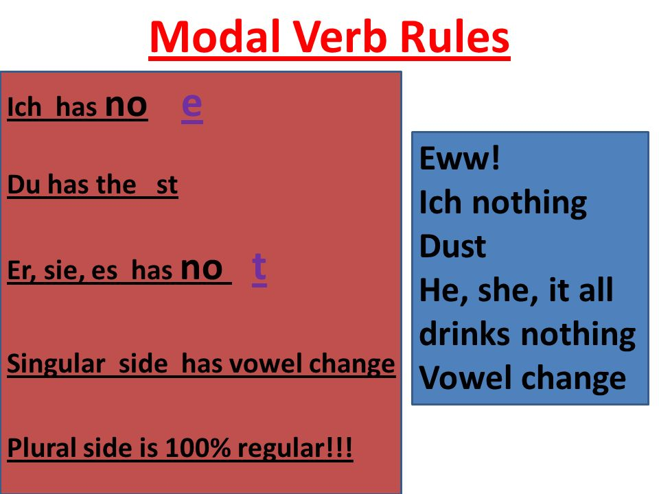Modal Verb Rules Ich has no e Du has the st Er, sie, es has no t Singular side has vowel change Plural side is 100% regular!!.