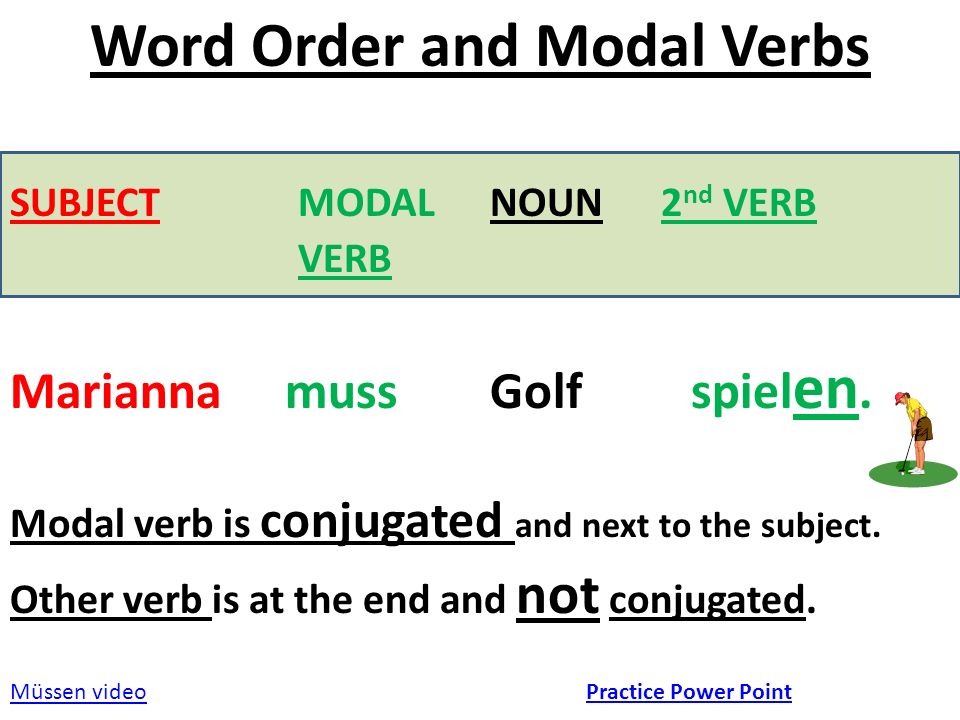 Word Order and Modal Verbs SUBJECT MODAL NOUN 2 nd VERB VERB Marianna muss Golf spiel en.