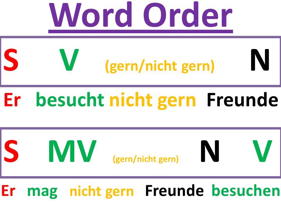 Word Order SV (gern/nicht gern) N S MV (gern/nicht gern) N V Er besucht nicht gern Freunde Er mag nicht gern Freunde besuchen